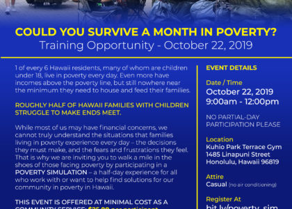 Poverty Simulation Training – October 22, 2019